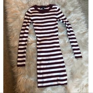 Maroon and white striped sweater dress